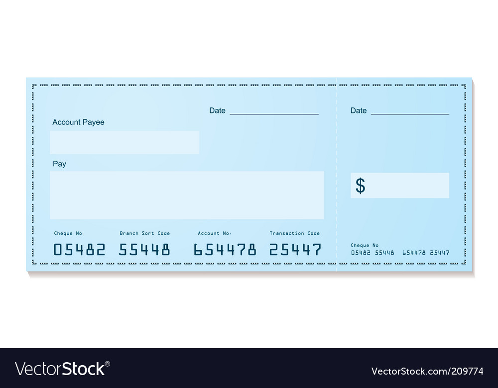 Bank cheque vector | Price: 1 Credit (USD $1)