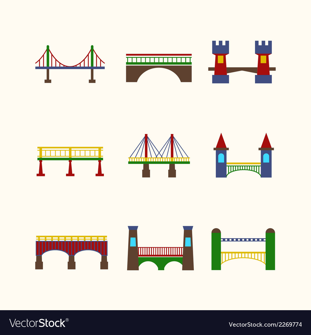 Bridge icons set vector | Price: 1 Credit (USD $1)
