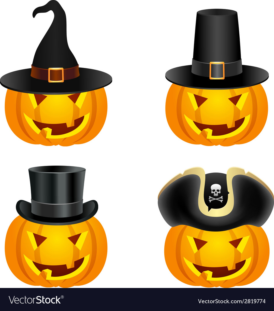 Halloween pumpkins in hats vector | Price: 1 Credit (USD $1)