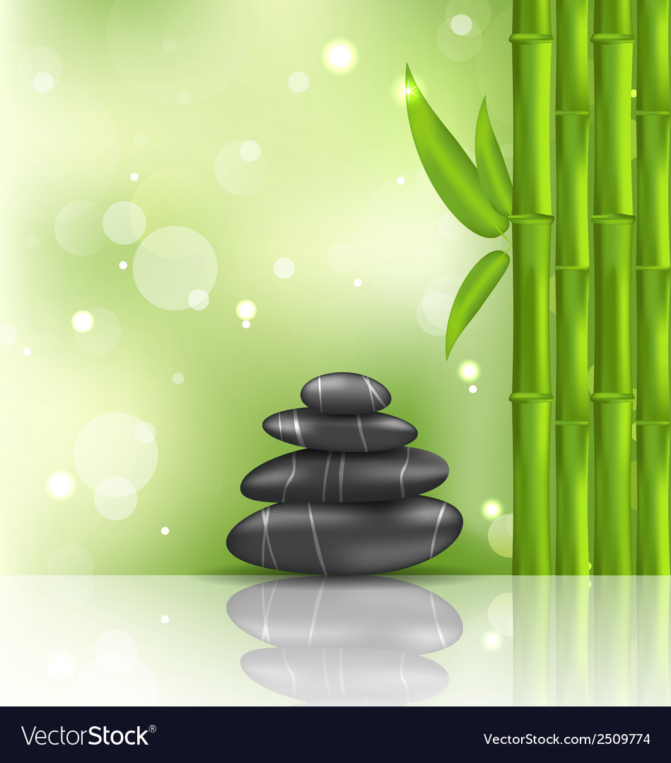Meditative oriental background with bamboo and vector | Price: 1 Credit (USD $1)