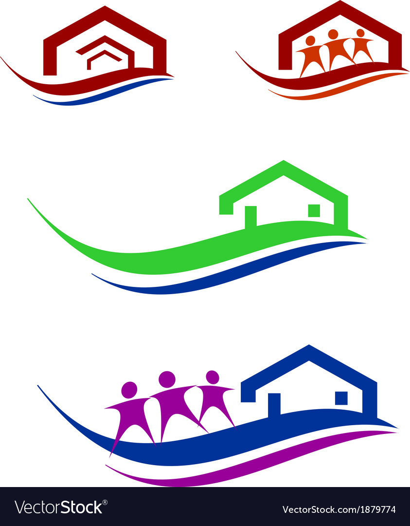 People and home logo set vector | Price: 1 Credit (USD $1)