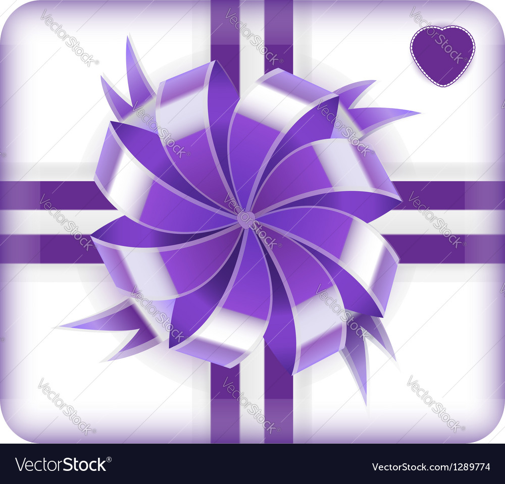 Purple gift box with heart on it isolated on white vector | Price: 1 Credit (USD $1)