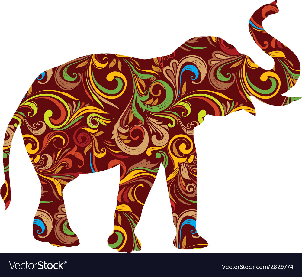 Red elephant ornamental vector | Price: 1 Credit (USD $1)