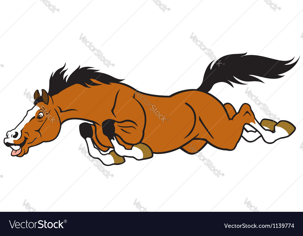 Running cartoon horse vector | Price: 1 Credit (USD $1)
