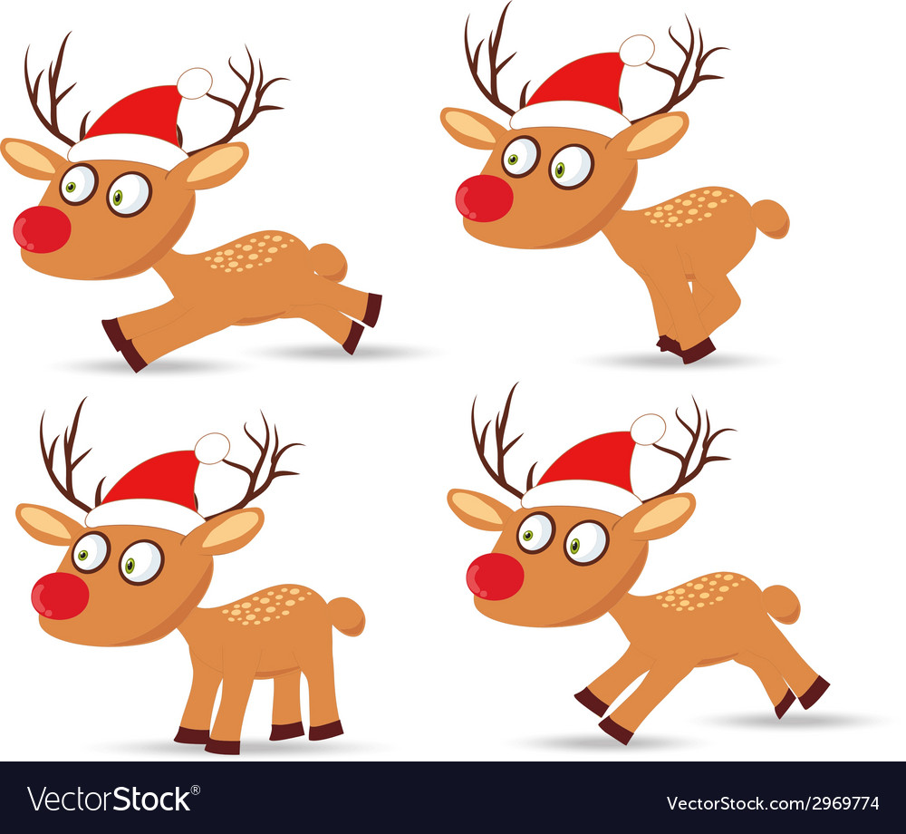 Set of deers and hat christmas for design vector | Price: 1 Credit (USD $1)