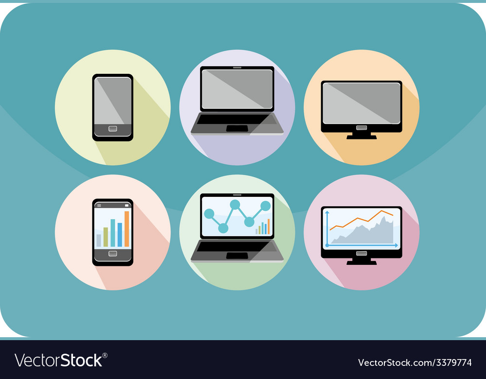 Set of display laptop computer smartphone vector   Price: 1 Credit (USD $1)