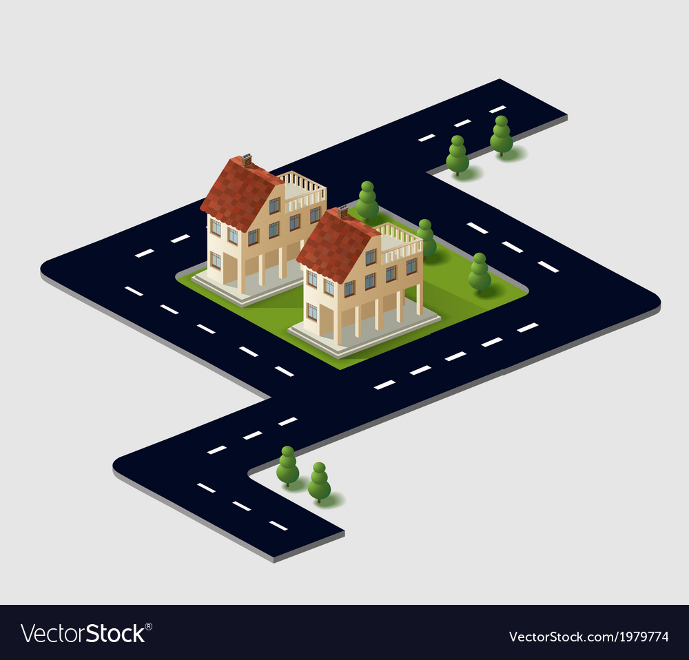 Village houses in the vector | Price: 1 Credit (USD $1)