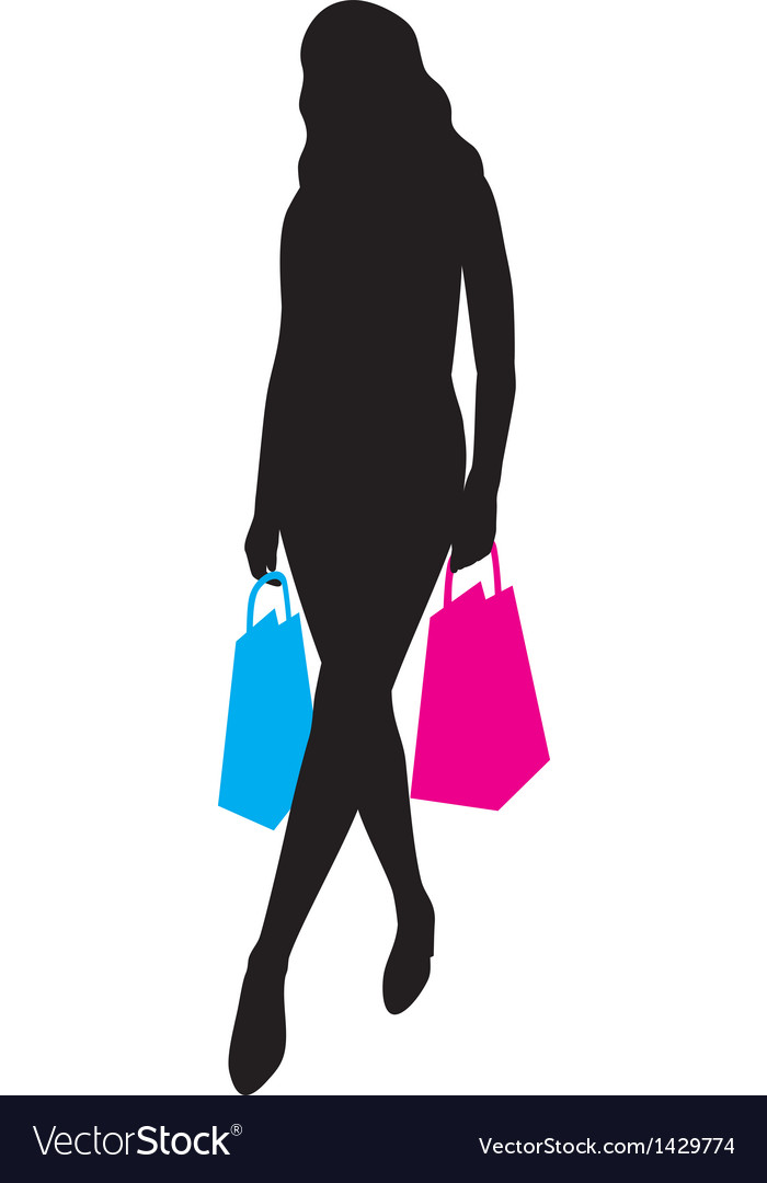 Woman silhouette with shopping bag vector | Price: 1 Credit (USD $1)