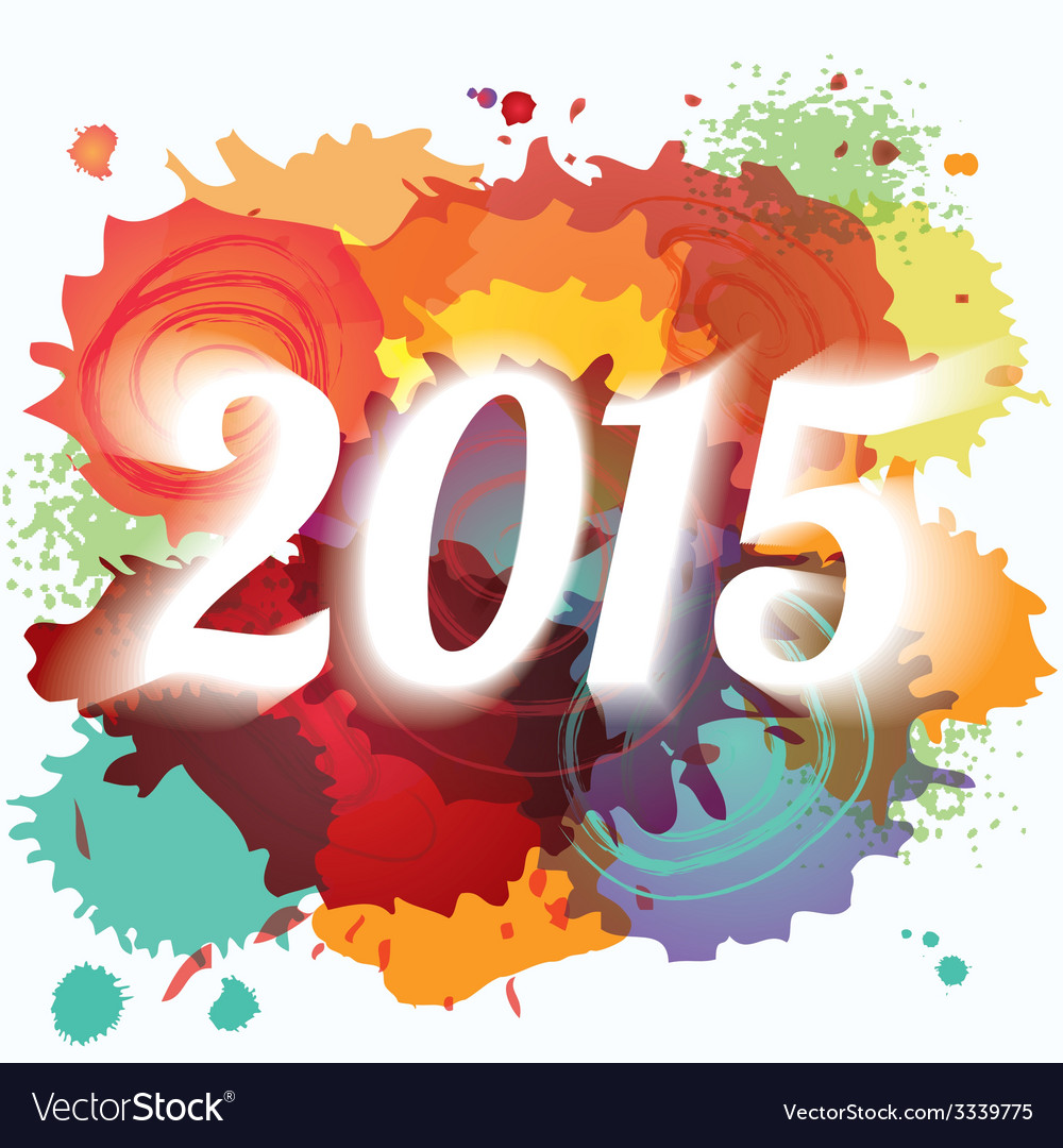 2015 new year paint splat colorful background vector | Price: 1 Credit (USD $1)