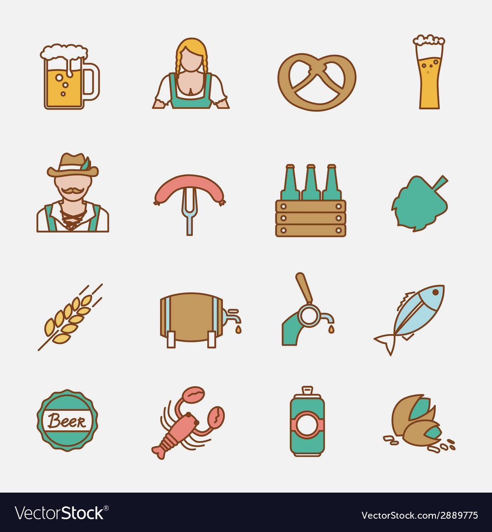 Beer icons set flat line vector | Price: 1 Credit (USD $1)