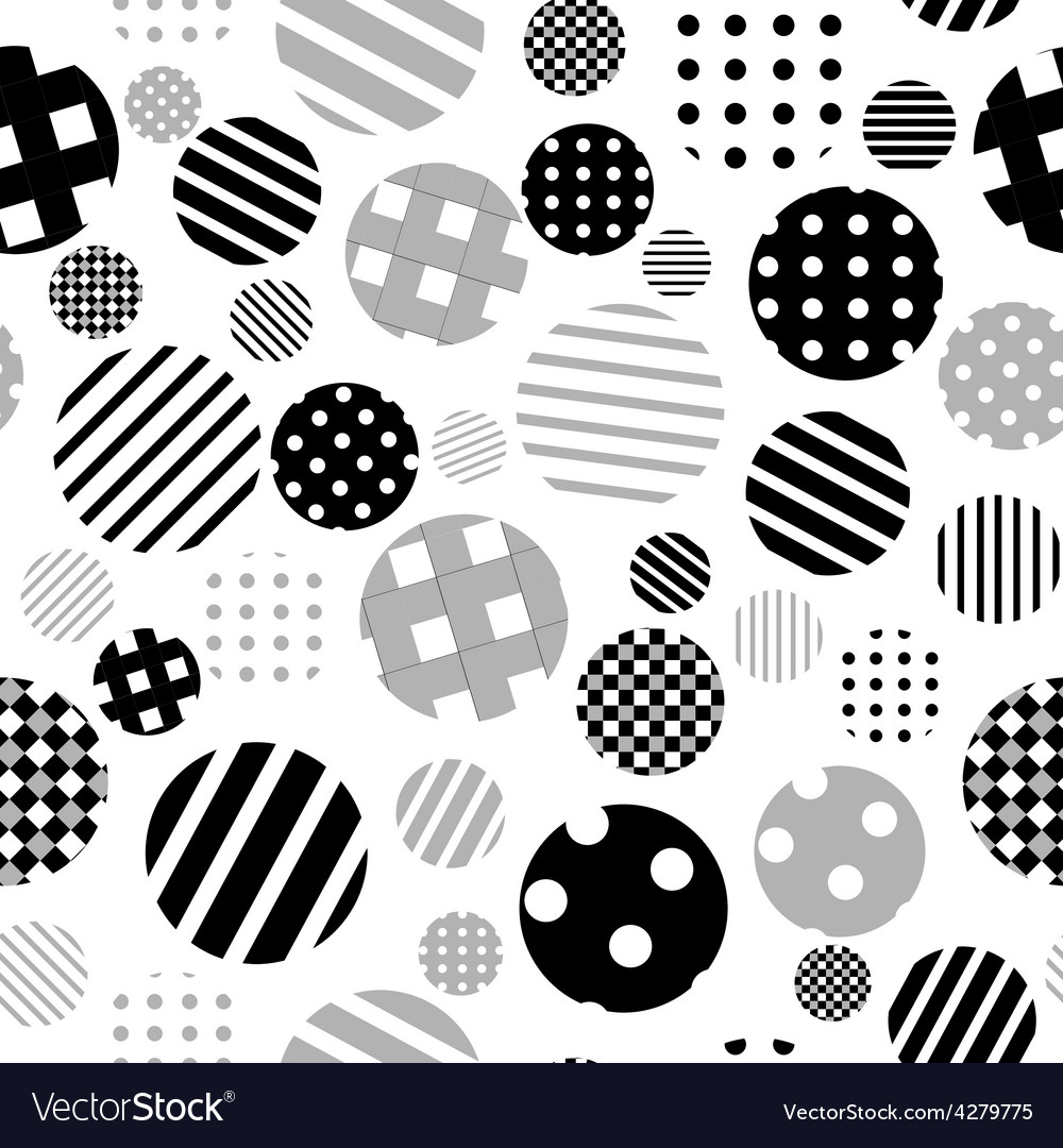 Black and white patterned circles seamless vector | Price: 1 Credit (USD $1)