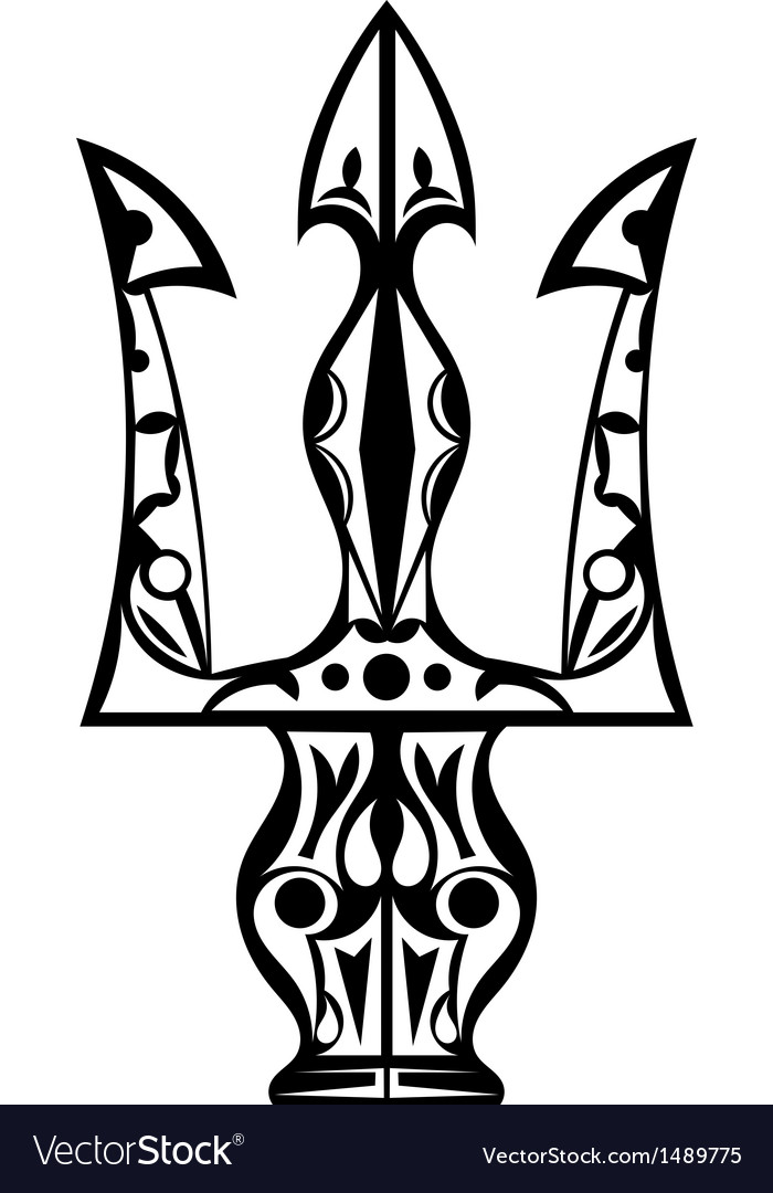 Black and white tattoo trident vector | Price: 1 Credit (USD $1)