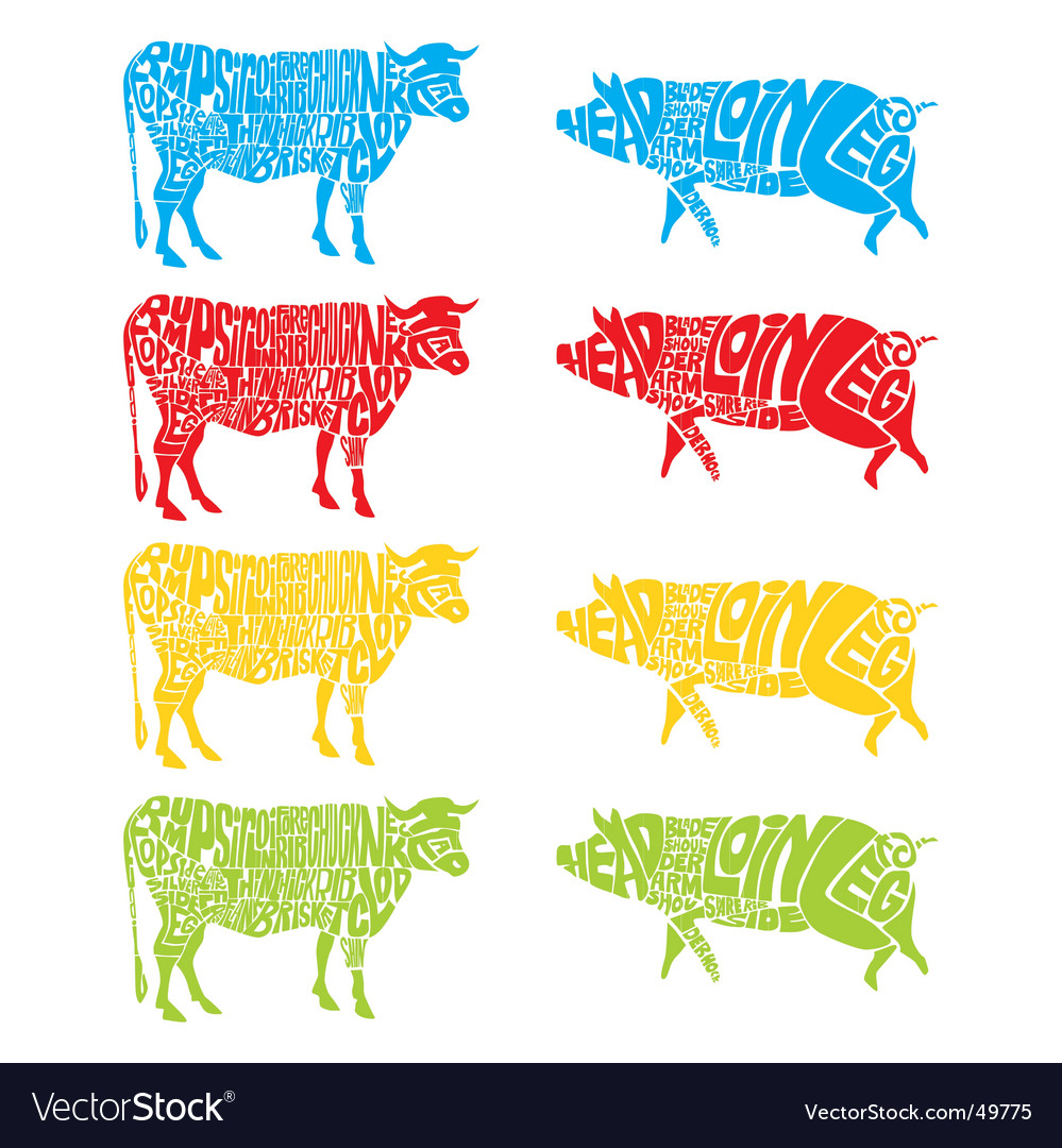 Cow and pig vector   Price: 1 Credit (USD $1)