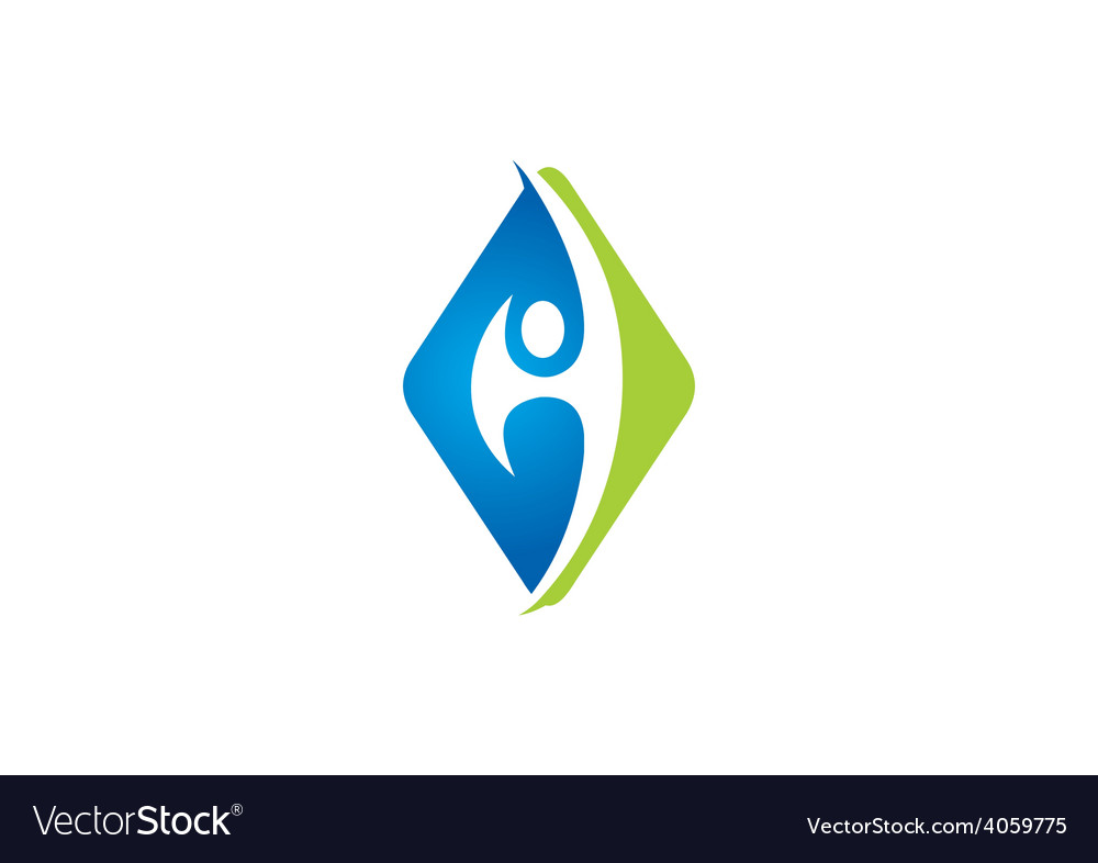 Eco square people abstract logo vector | Price: 1 Credit (USD $1)