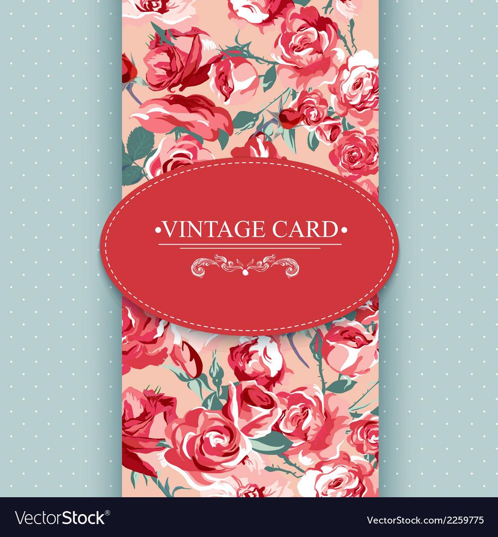 Elegance vintage floral card with roses vector | Price: 1 Credit (USD $1)