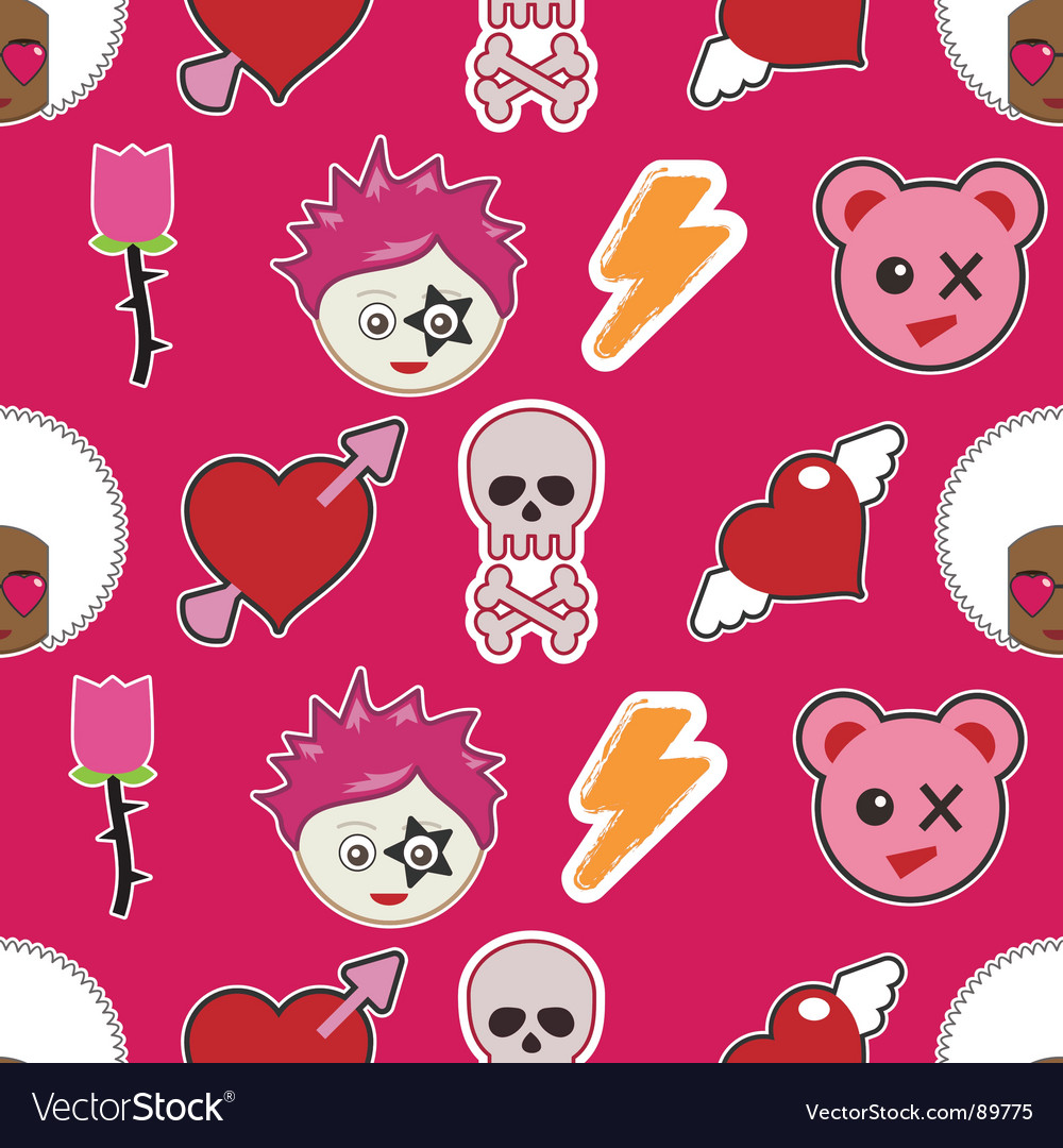 Emo pattern vector | Price: 1 Credit (USD $1)