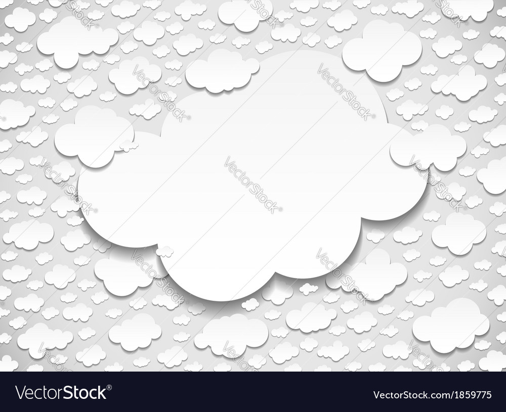 Frame with many cut out white paper clouds vector | Price: 1 Credit (USD $1)