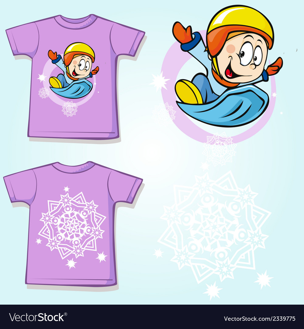 Kid shirt with winter sportsmen on sled printed - vector | Price: 1 Credit (USD $1)