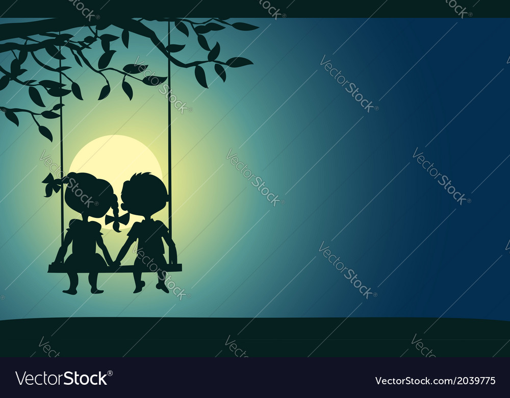 Moonlight silhouettes of a boy and girl vector | Price: 1 Credit (USD $1)