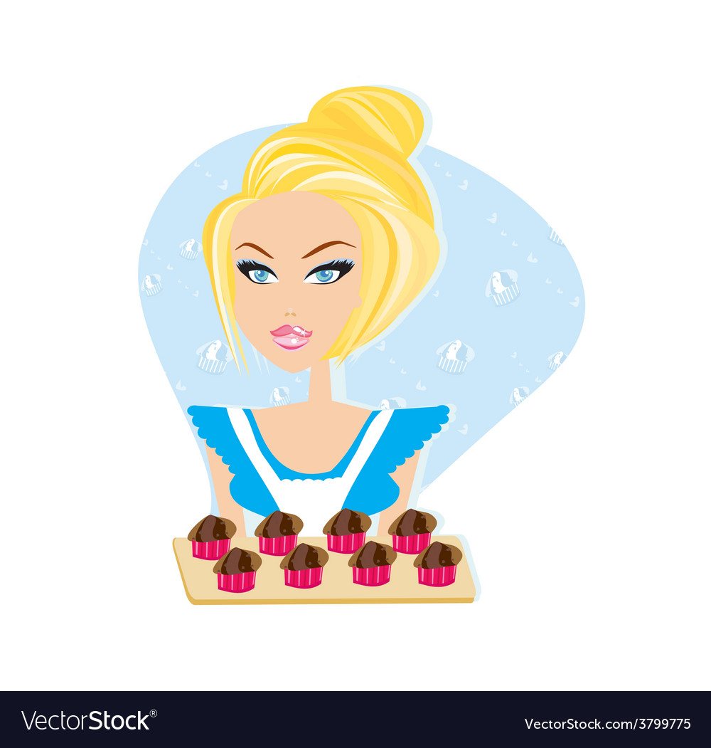 Sexy waitress with muffins on a tray vector | Price: 1 Credit (USD $1)