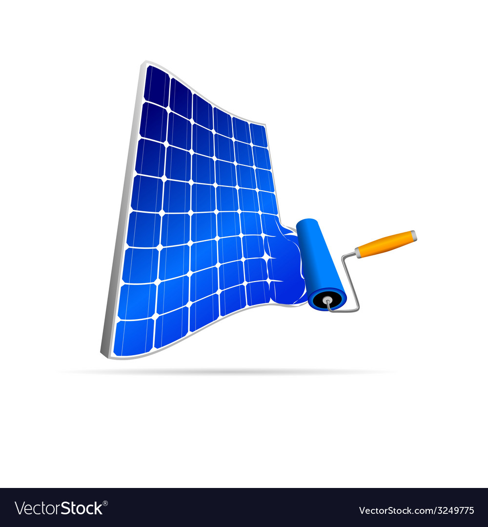 Solar panel with paint roller vector | Price: 1 Credit (USD $1)