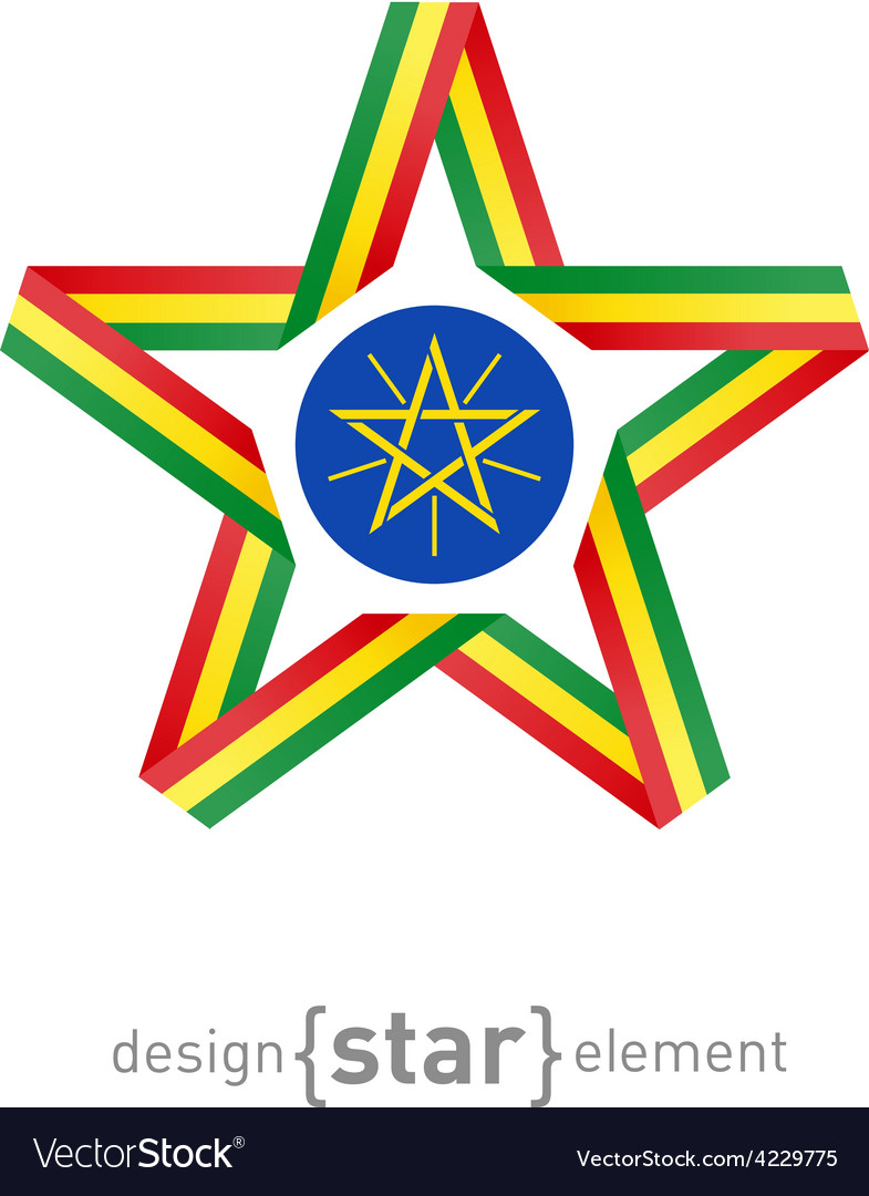 Star with flag of ethiopia colors and symbols vector | Price: 1 Credit (USD $1)