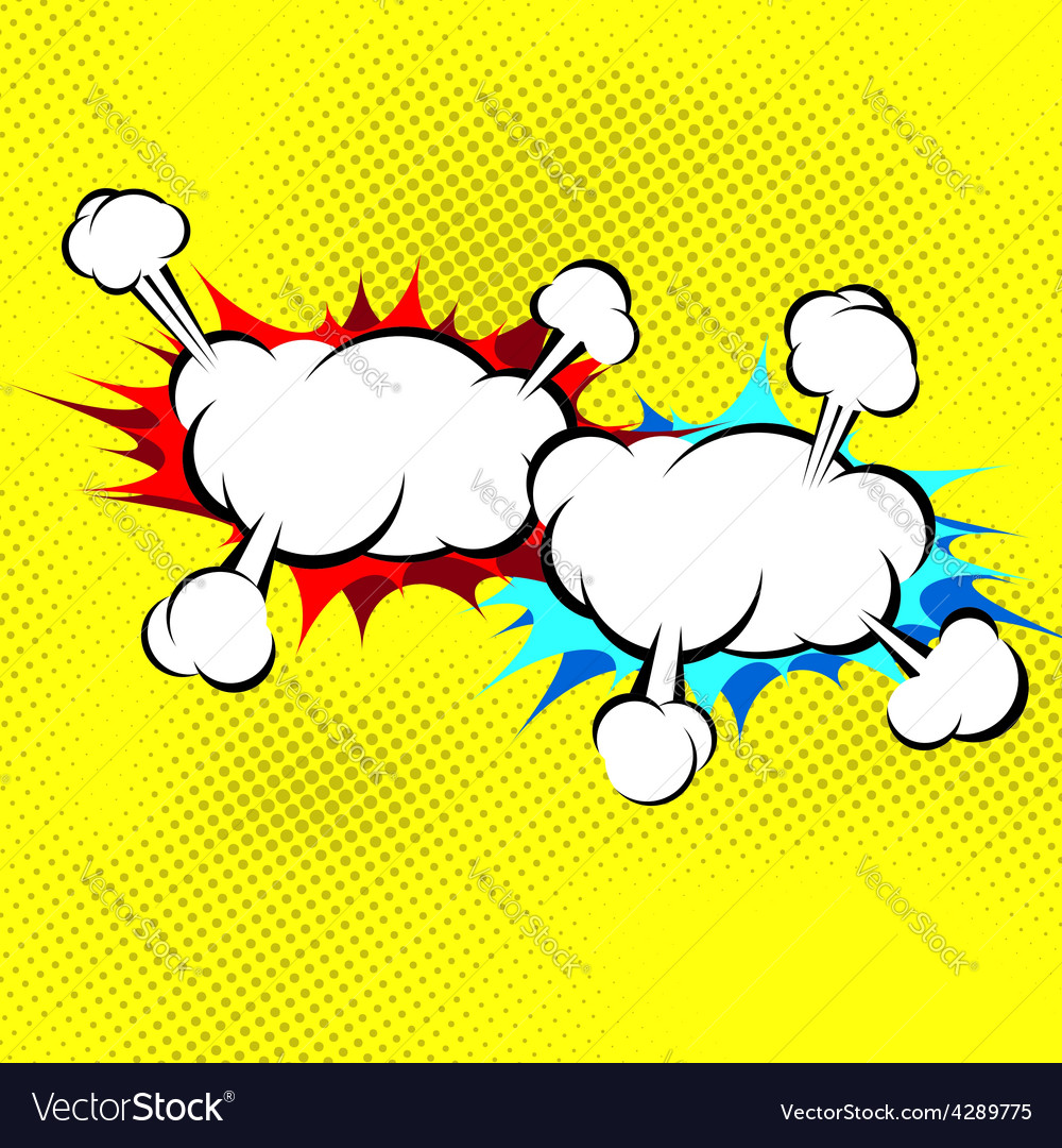 Two explosion cloud collision retro background vector | Price: 1 Credit (USD $1)
