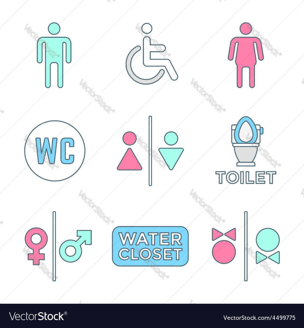 Various colored outline water closet signs toilet vector | Price: 1 Credit (USD $1)