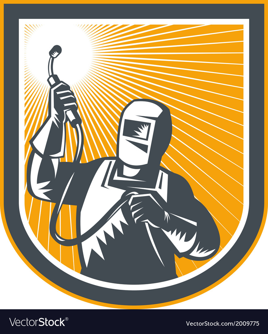Welder fabricator holding up welding torch retro vector | Price: 1 Credit (USD $1)