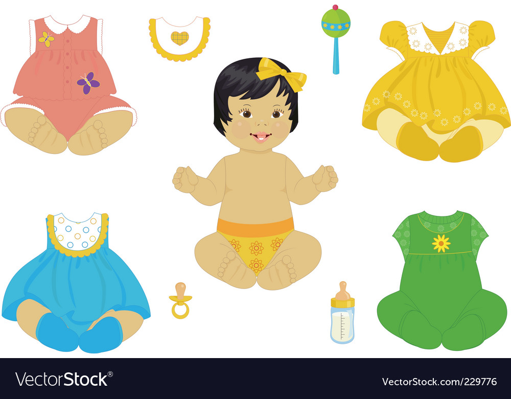 Asian baby girl vector | Price: 1 Credit (USD $1)
