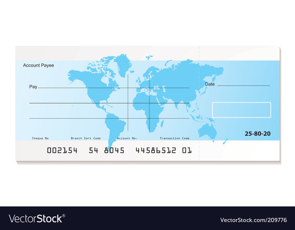 Bank cheque world vector | Price: 1 Credit (USD $1)