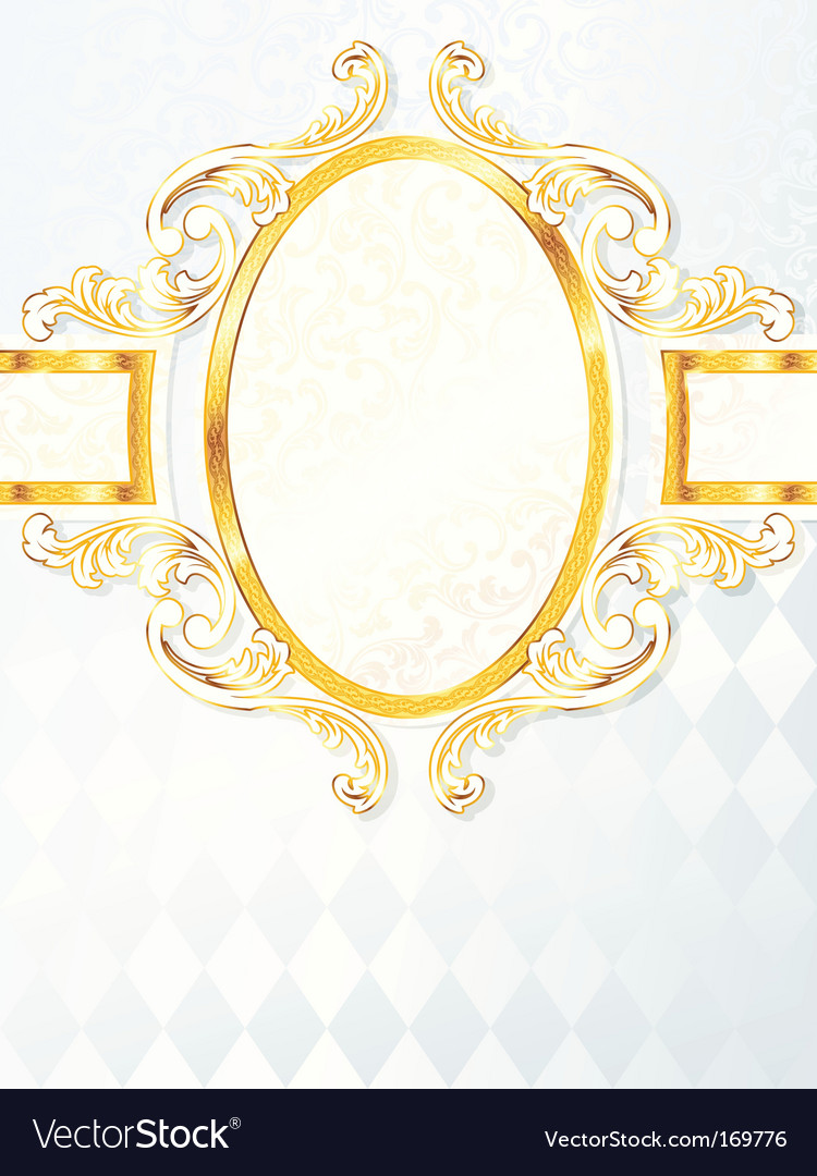 Beautiful vertical rococo wedding banner vector | Price: 1 Credit (USD $1)