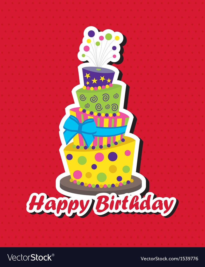 Birthday card with topsy-turvy cake vector | Price: 1 Credit (USD $1)