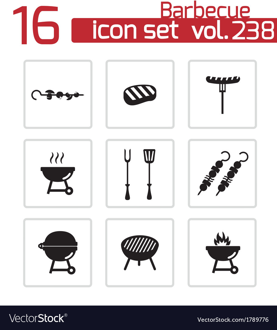 Black barbecue icons set vector | Price: 1 Credit (USD $1)