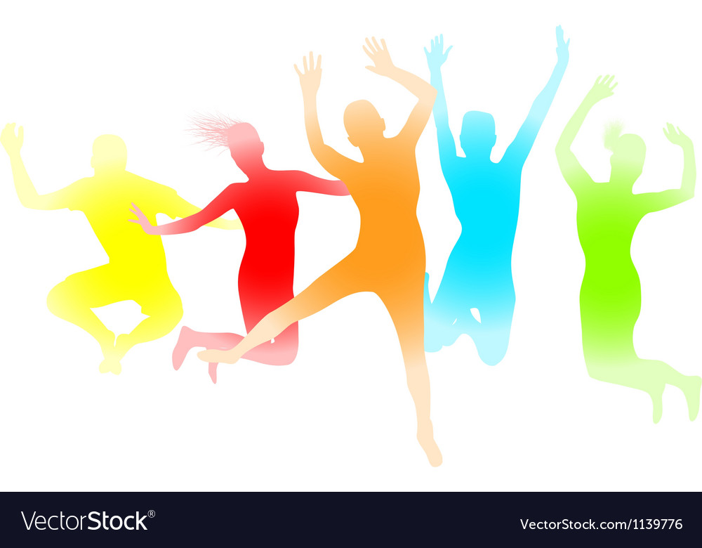 Colourful jumping people vector | Price: 1 Credit (USD $1)