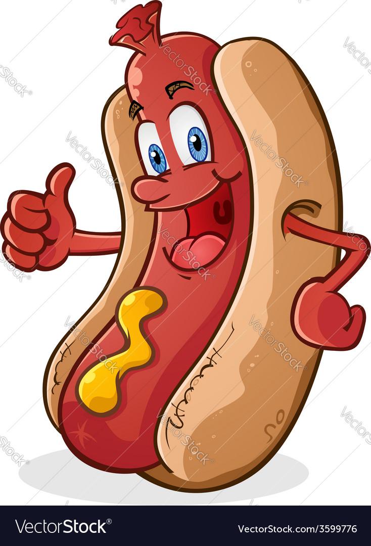 Hot dog thumbs up cartoon character vector   Price: 3 Credit (USD $3)