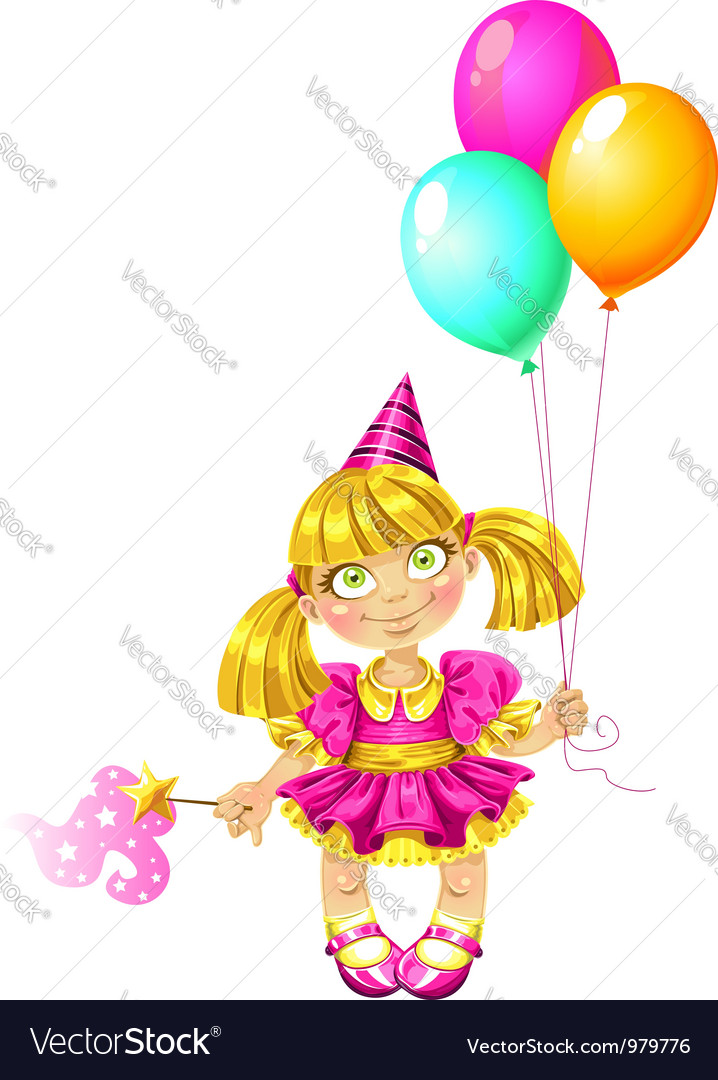 Little fairy with balloons vector | Price: 3 Credit (USD $3)