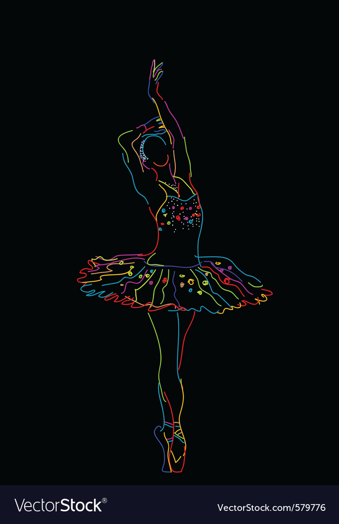 Neon ballerina vector | Price: 1 Credit (USD $1)