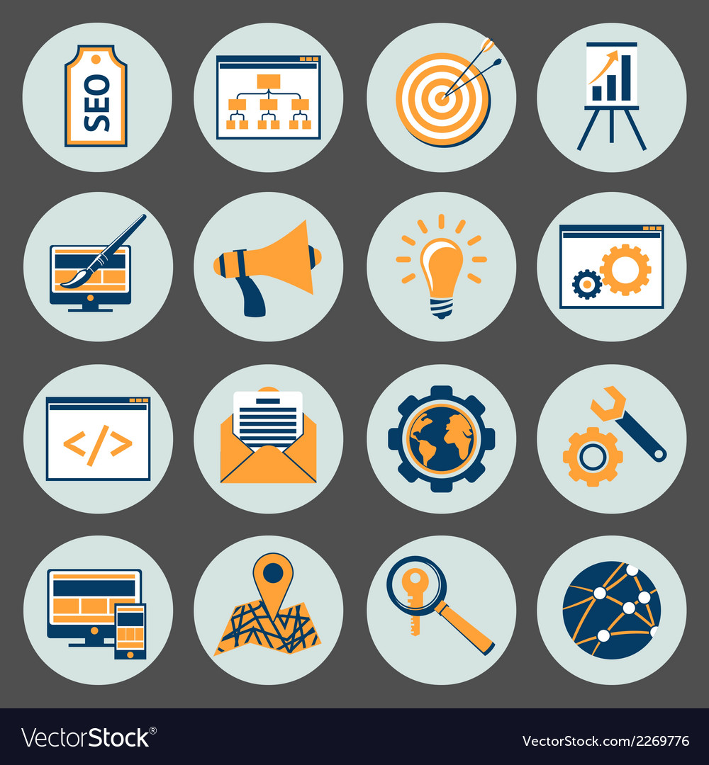 Seo icons set vector | Price: 1 Credit (USD $1)