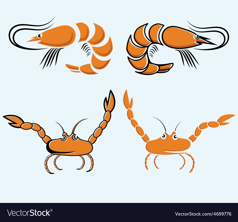 Set of shrimps and crabs vector | Price: 1 Credit (USD $1)