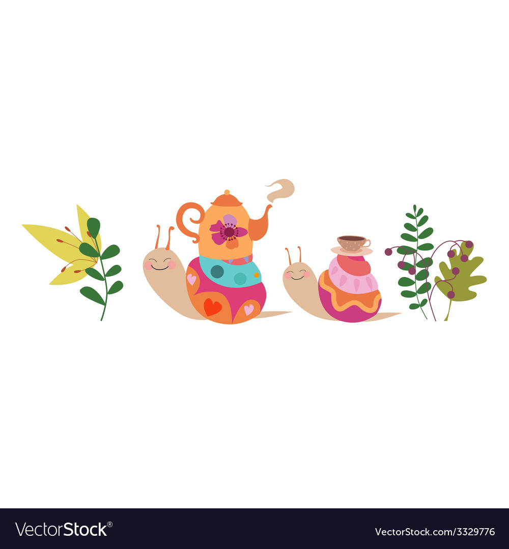 Snails and tea ceremony vector | Price: 1 Credit (USD $1)