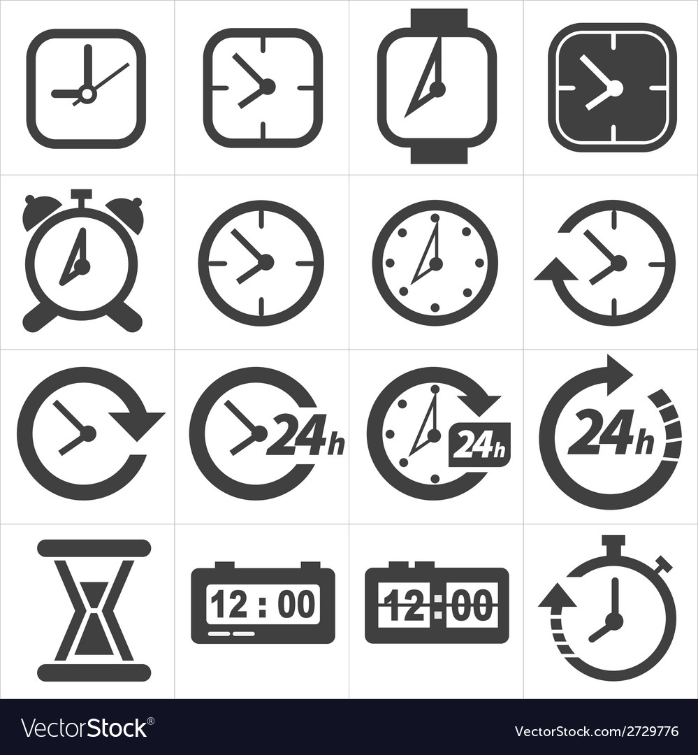 Time and clock icon set vector   Price: 1 Credit (USD $1)