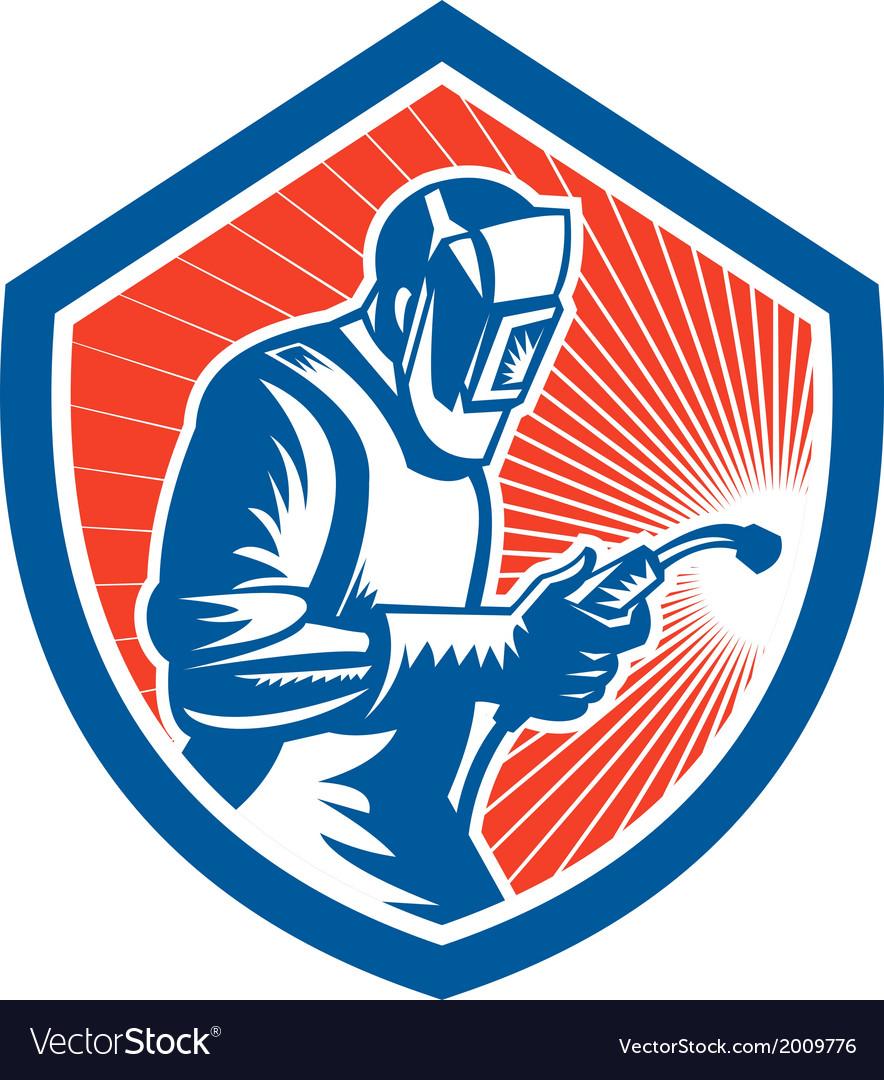 Welder fabricator welding torch side shield retro vector | Price: 1 Credit (USD $1)