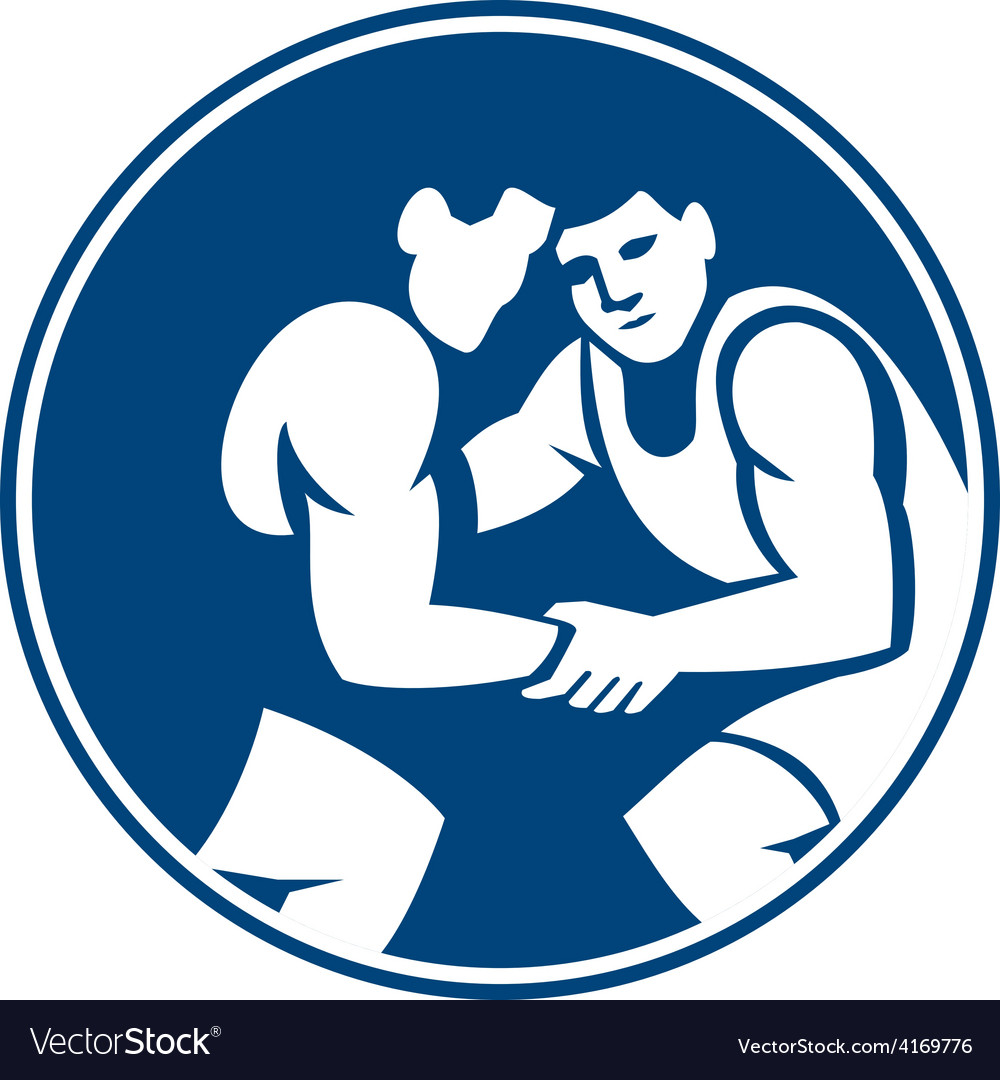 Wrestlers wrestling circle icon vector | Price: 1 Credit (USD $1)