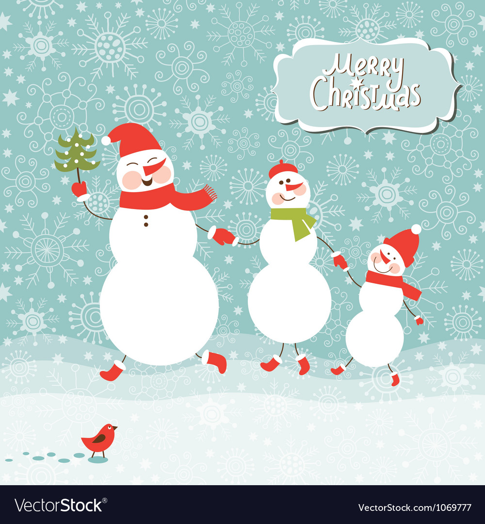 A family of three snowmen vector | Price: 1 Credit (USD $1)