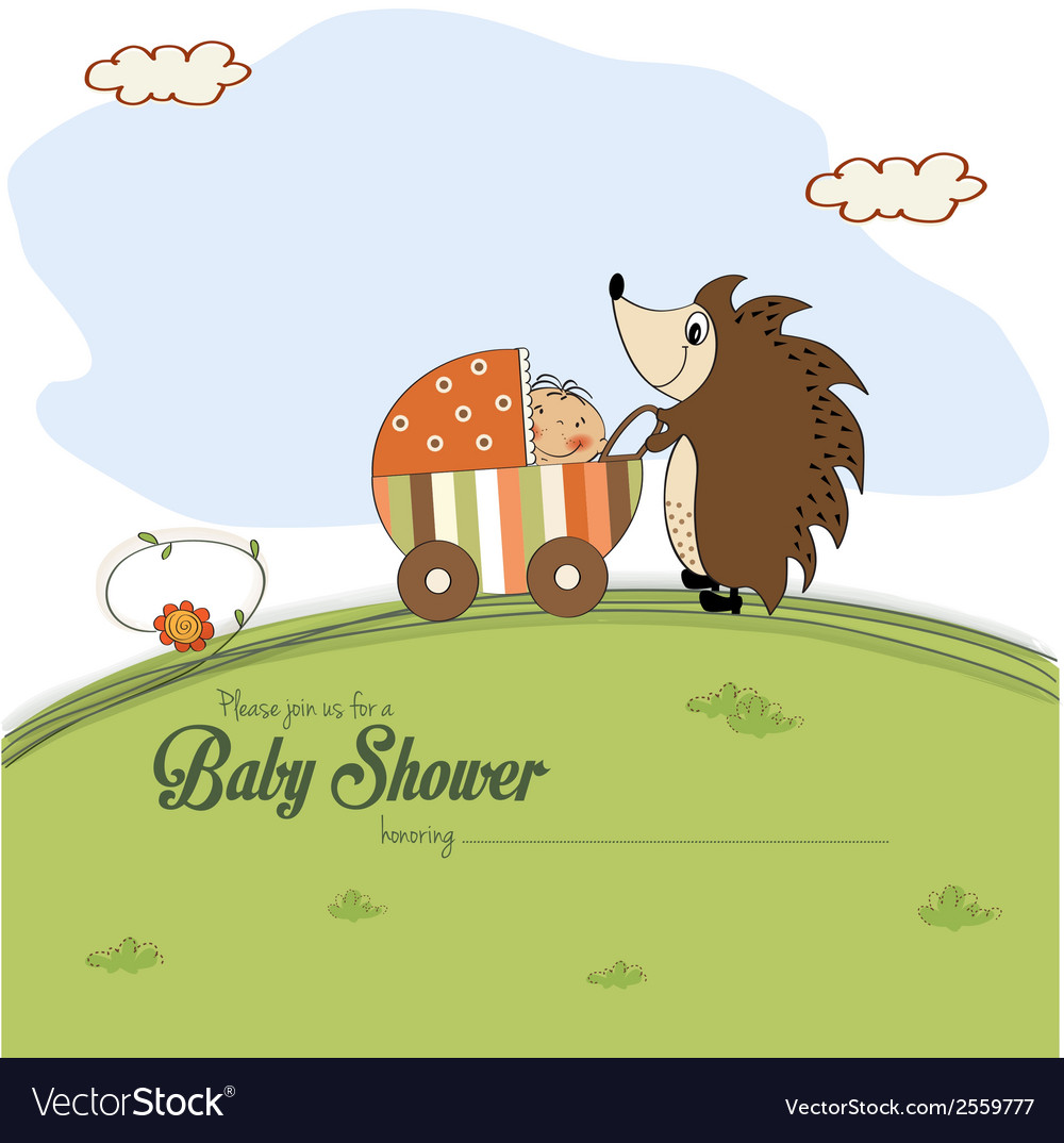 Baby shower card with a hedgehog that pushes a vector | Price: 1 Credit (USD $1)
