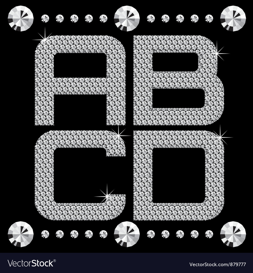 Diamond letters on black set 01 vector | Price: 1 Credit (USD $1)