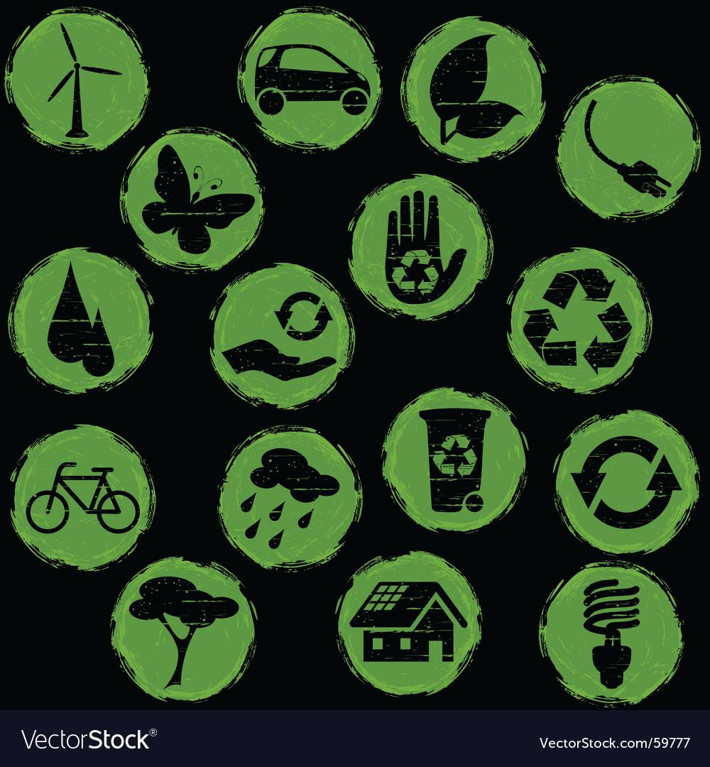 Grunge eco symbols button vector | Price: 1 Credit (USD $1)