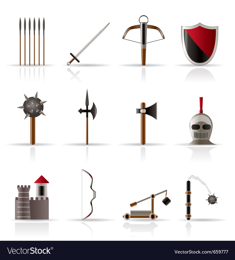 Medieval arms and objects icons vector | Price: 1 Credit (USD $1)