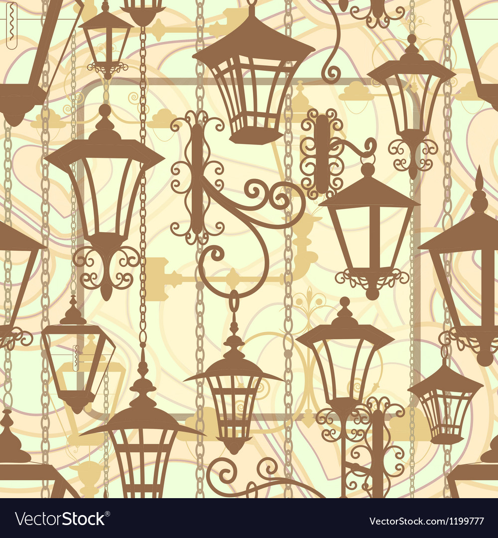 Old town seamless texture with wrought lanterns vector | Price: 1 Credit (USD $1)